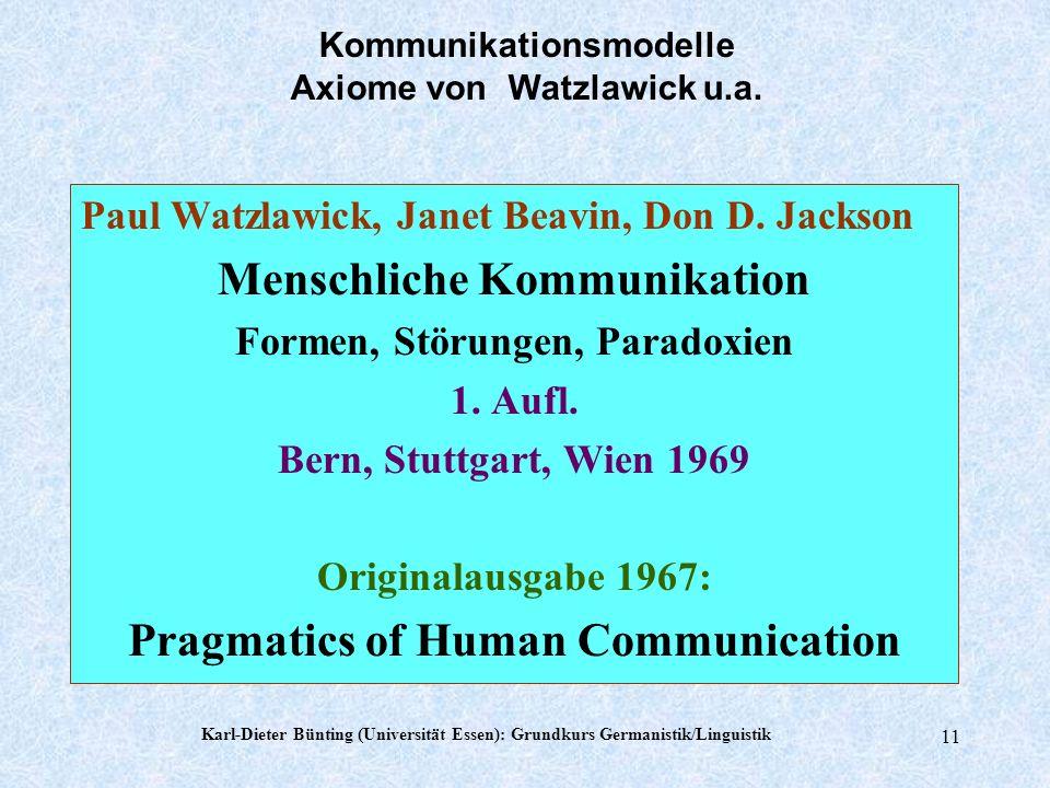 Karl-Dieter Bünting (Universität Essen): Grundkurs Germanistik/Linguistik 10 10 Wahrnehmung und Kommunikation SinneBereicheWahrgenommenesZeichen Augen