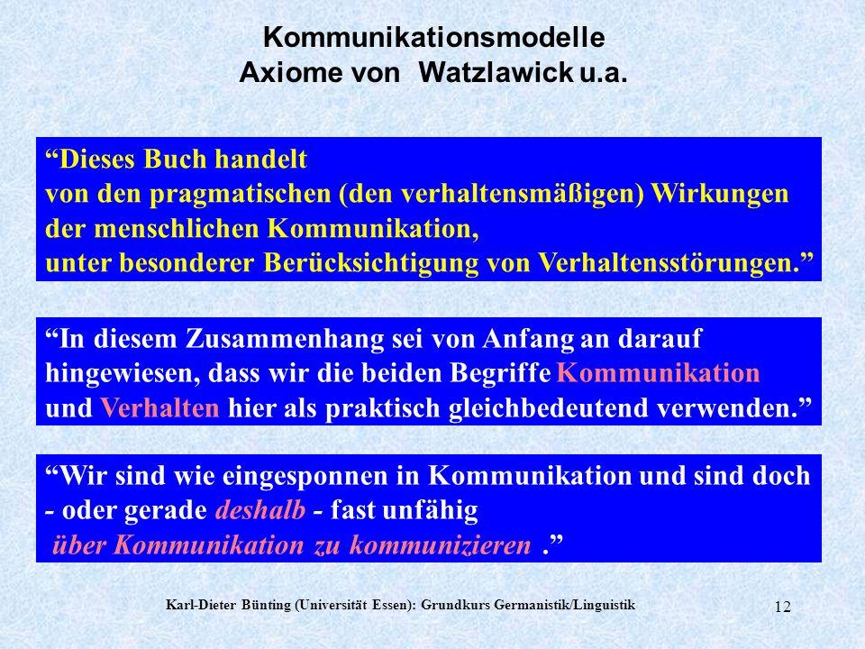 Karl-Dieter Bünting (Universität Essen): Grundkurs Germanistik/Linguistik 11 Paul Watzlawick, Janet Beavin, Don D. Jackson Menschliche Kommunikation F