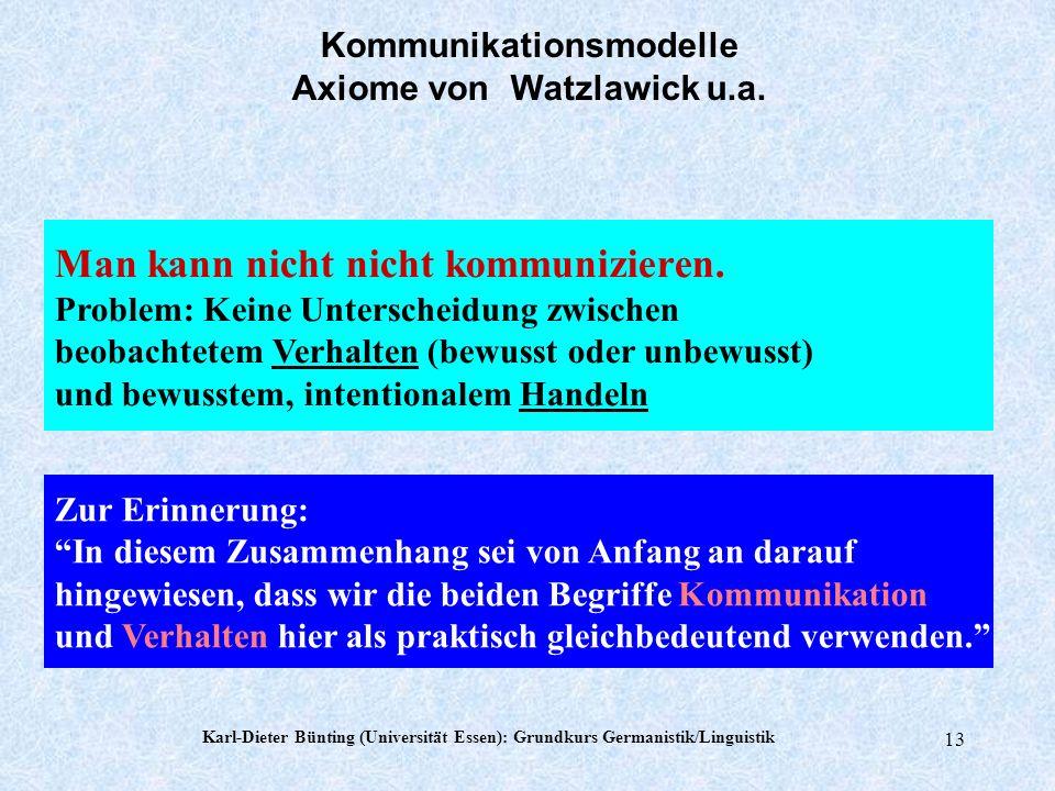 Karl-Dieter Bünting (Universität Essen): Grundkurs Germanistik/Linguistik 12 Dieses Buch handelt von den pragmatischen (den verhaltensmäßigen) Wirkung