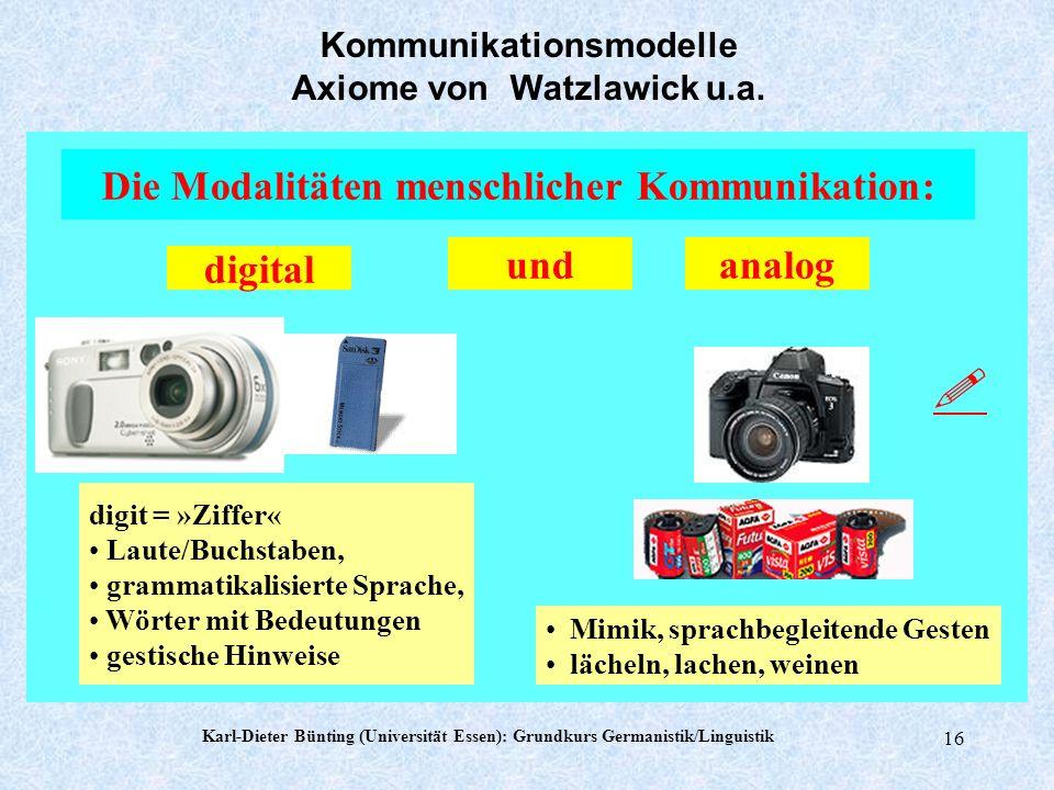 Karl-Dieter Bünting (Universität Essen): Grundkurs Germanistik/Linguistik 15 Die Natur einer Beziehung ist durch die Interpunktion der Kommunikationsa