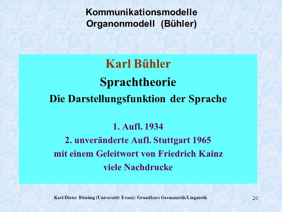 Karl-Dieter Bünting (Universität Essen): Grundkurs Germanistik/Linguistik 19 Axiome von Watzlawick u.a. Welche Möglichkeiten analoger Kommunikation gi