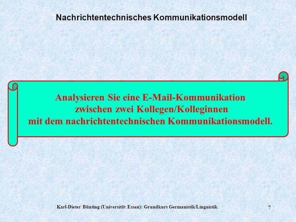 Karl-Dieter Bünting (Universität Essen): Grundkurs Germanistik/Linguistik 6 6 Nachrichtentechnisches Kommunikationsmodell MenschenSprache(n) Mimik Ges
