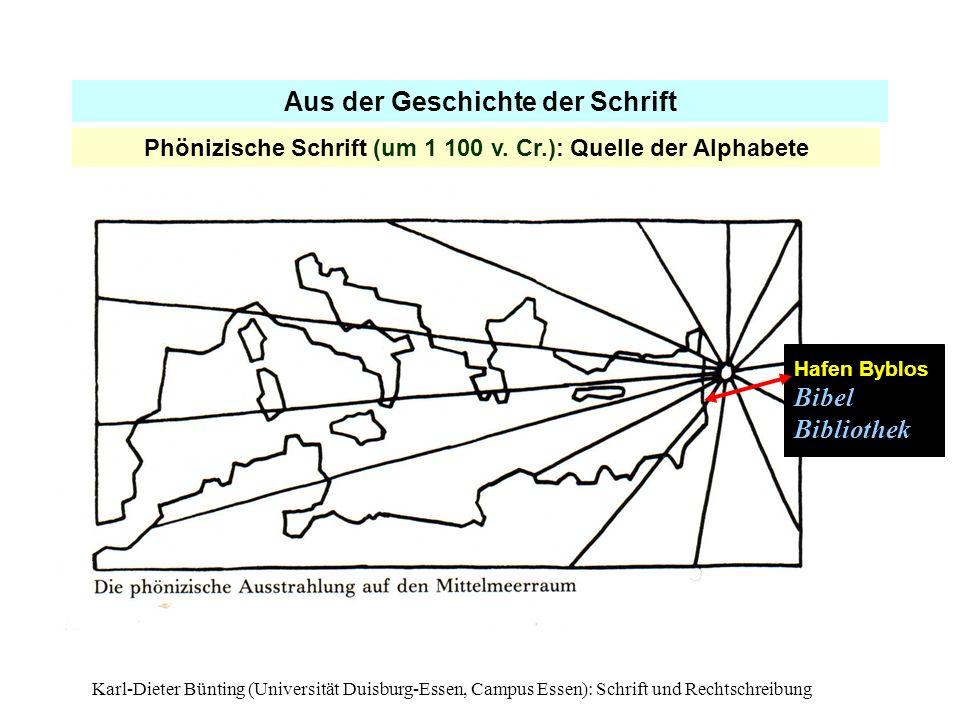 Karl-Dieter Bünting (Universität Duisburg-Essen, Campus Essen): Schrift und Rechtschreibung11 Aus der Geschichte der Schrift Phönizische Schrift (um 1