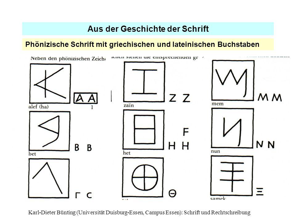 Karl-Dieter Bünting (Universität Duisburg-Essen, Campus Essen): Schrift und Rechtschreibung12 Aus der Geschichte der Schrift Phönizische Schrift mit g