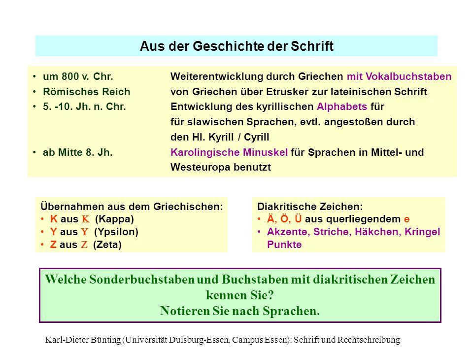 Karl-Dieter Bünting (Universität Duisburg-Essen, Campus Essen): Schrift und Rechtschreibung13 Aus der Geschichte der Schrift um 800 v. Chr. Weiterentw