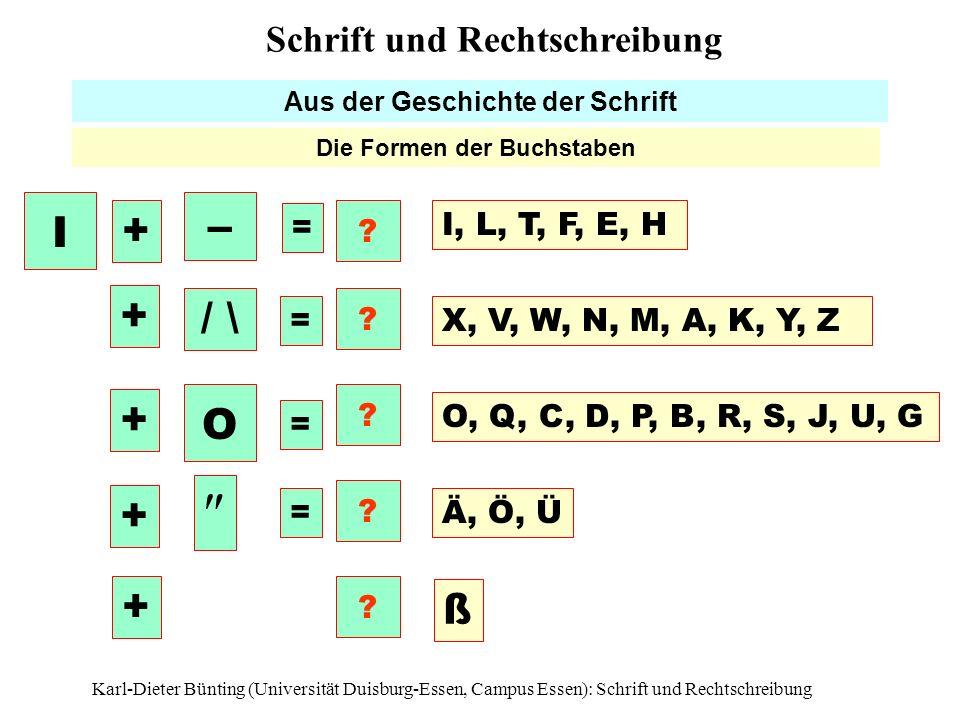 Karl-Dieter Bünting (Universität Duisburg-Essen, Campus Essen): Schrift und Rechtschreibung15 Aus der Geschichte der Schrift Die Formen der Buchstaben