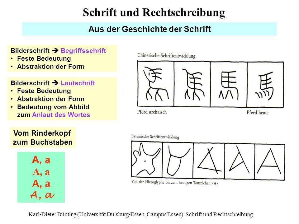 Karl-Dieter Bünting (Universität Duisburg-Essen, Campus Essen): Schrift und Rechtschreibung5 Aus der Geschichte der Schrift Bilderschrift Begriffsschr
