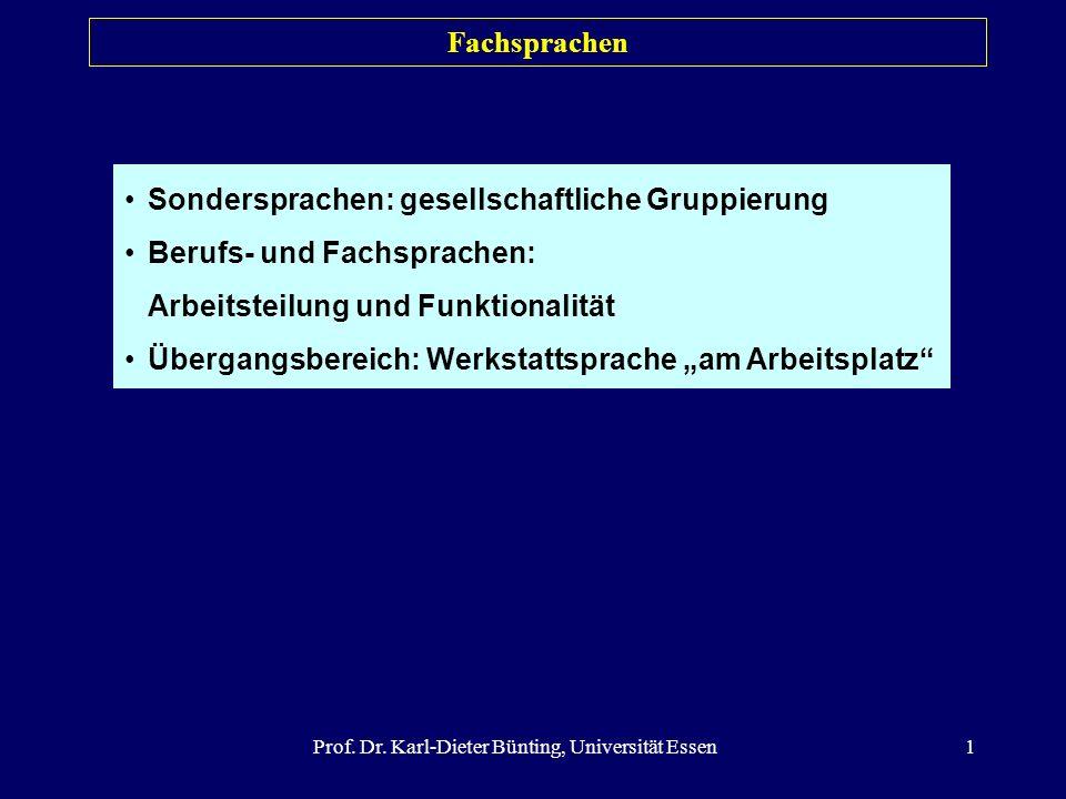 Prof. Dr. Karl-Dieter Bünting, Universität Essen1 Sondersprachen: gesellschaftliche Gruppierung Berufs- und Fachsprachen: Arbeitsteilung und Funktiona