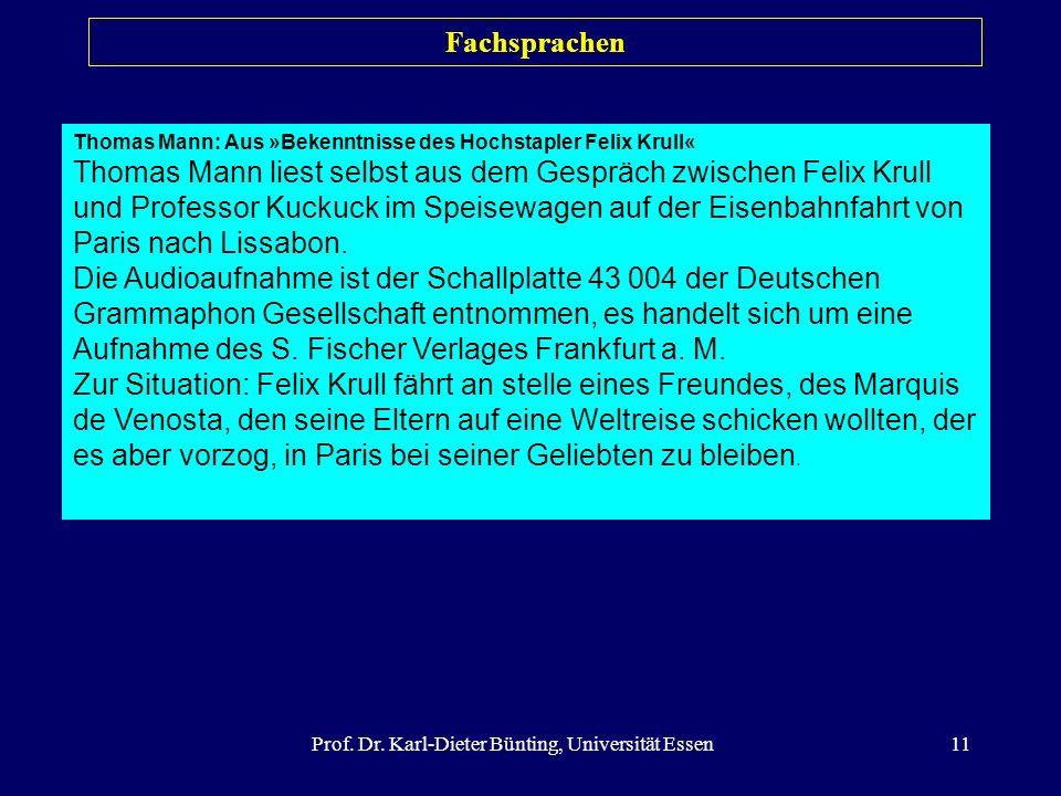Prof. Dr. Karl-Dieter Bünting, Universität Essen11 Fachsprachen Thomas Mann: Aus »Bekenntnisse des Hochstapler Felix Krull« Thomas Mann liest selbst a