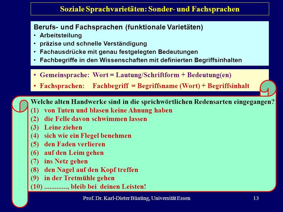 Prof. Dr. Karl-Dieter Bünting, Universität Essen13 Gemeinsprache:Wort = Lautung/Schriftform + Bedeutung(en) Fachsprachen:Fachbegriff = Begriffsname (W
