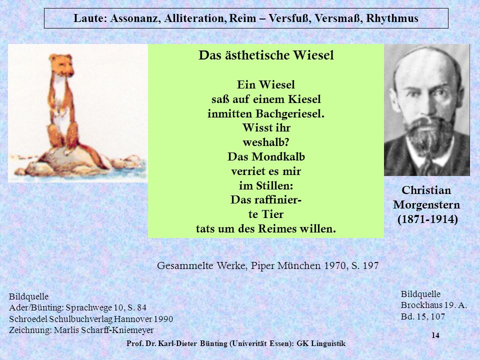 Prof. Dr. Karl-Dieter Bünting (Univerität Essen): GK Linguistik 13 Laute: Assonanz, Alliteration, Reim – Versfuß, Versmaß, Rhythmus Gebundene Sprache