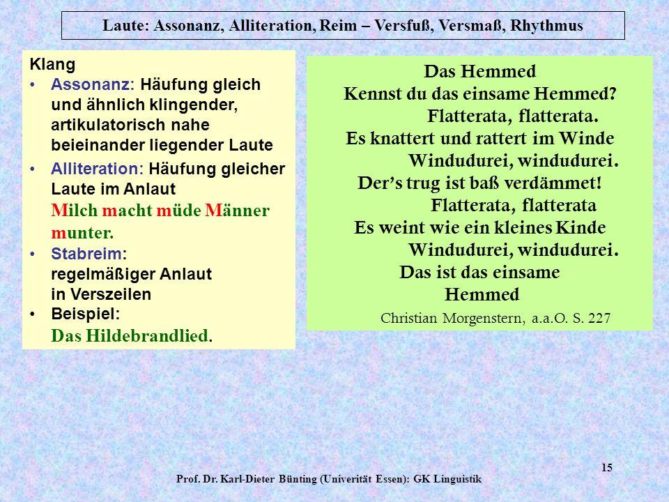 Prof. Dr. Karl-Dieter Bünting (Univerität Essen): GK Linguistik 14 Laute: Assonanz, Alliteration, Reim – Versfuß, Versmaß, Rhythmus Das ästhetische Wi