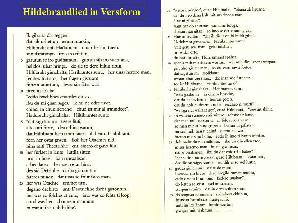 Prof. Dr. Karl-Dieter Bünting (Univerität Essen): GK Linguistik 16 Hildebrandlied - eine Handschrift des 8. Jahrhunderts Laute: Assonanz, Alliteration