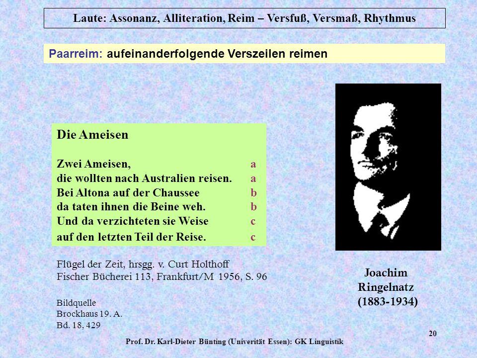 Prof. Dr. Karl-Dieter Bünting (Univerität Essen): GK Linguistik 19 Laute: Assonanz, Alliteration, Reim – Versfuß, Versmaß, Rhythmus Reim: Gleichklang