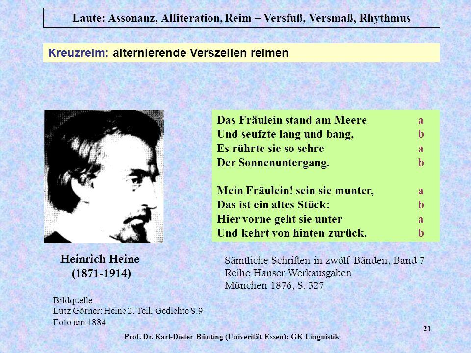 Prof. Dr. Karl-Dieter Bünting (Univerität Essen): GK Linguistik 20 Laute: Assonanz, Alliteration, Reim – Versfuß, Versmaß, Rhythmus Paarreim: aufeinan