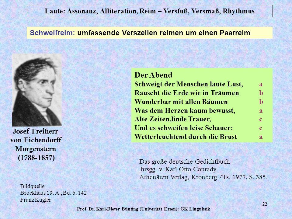 Prof. Dr. Karl-Dieter Bünting (Univerität Essen): GK Linguistik 21 Laute: Assonanz, Alliteration, Reim – Versfuß, Versmaß, Rhythmus Kreuzreim: alterni