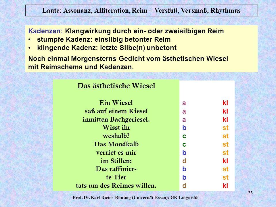 Prof. Dr. Karl-Dieter Bünting (Univerität Essen): GK Linguistik 22 Laute: Assonanz, Alliteration, Reim – Versfuß, Versmaß, Rhythmus Josef Freiherr von