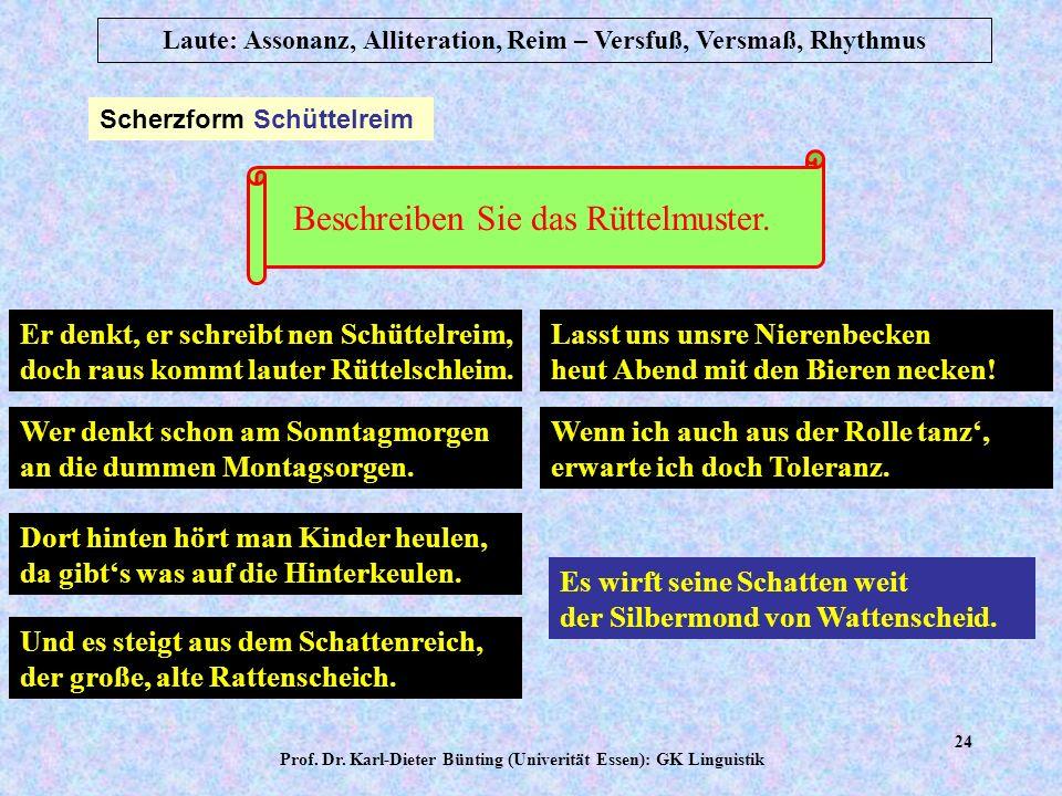 Prof. Dr. Karl-Dieter Bünting (Univerität Essen): GK Linguistik 23 Laute: Assonanz, Alliteration, Reim – Versfuß, Versmaß, Rhythmus Kadenzen: Klangwir