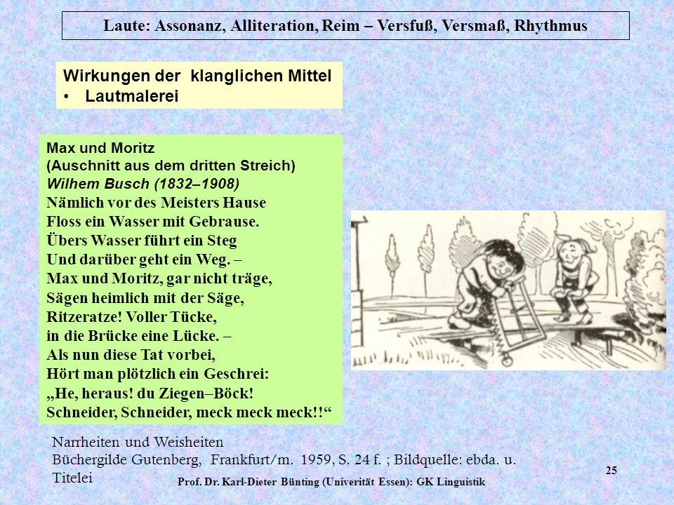 Prof. Dr. Karl-Dieter Bünting (Univerität Essen): GK Linguistik 24 Laute: Assonanz, Alliteration, Reim – Versfuß, Versmaß, Rhythmus Scherzform Schütte