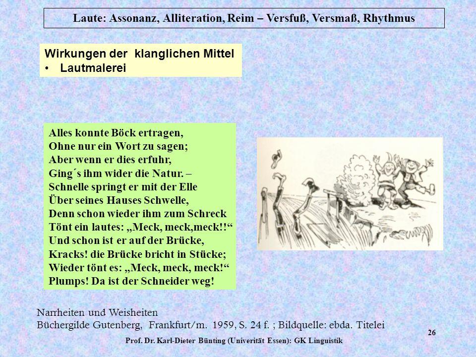 Prof. Dr. Karl-Dieter Bünting (Univerität Essen): GK Linguistik 25 Laute: Assonanz, Alliteration, Reim – Versfuß, Versmaß, Rhythmus Wirkungen der klan