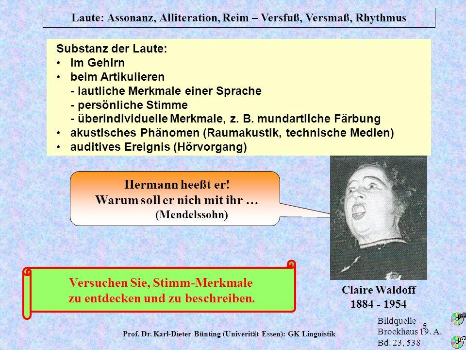 Prof. Dr. Karl-Dieter Bünting (Univerität Essen): GK Linguistik 4 Vokale und Diphthonge im Mund-Rachenraum Laute: Phonetik und Phonologie