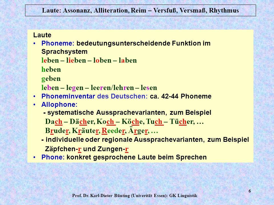 Prof. Dr. Karl-Dieter Bünting (Univerität Essen): GK Linguistik 5 Laute: Assonanz, Alliteration, Reim – Versfuß, Versmaß, Rhythmus Substanz der Laute: