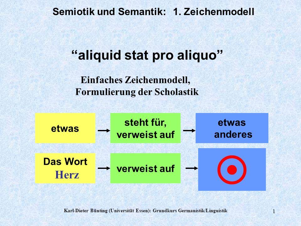 Karl-Dieter Bünting (Universität Essen): Grundkurs Germanistik/Linguistik 1 Semiotik und Semantik: 1.