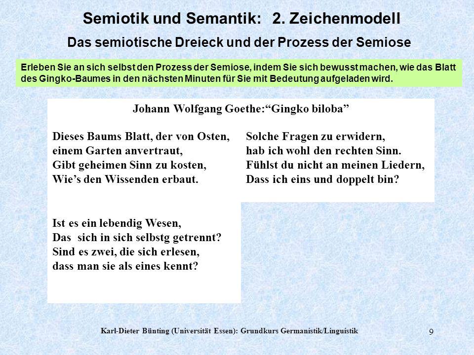 Karl-Dieter Bünting (Universität Essen): Grundkurs Germanistik/Linguistik 9 Johann Wolfgang Goethe:Gingko biloba Ist es ein lebendig Wesen, Das sich in sich selbstg getrennt.