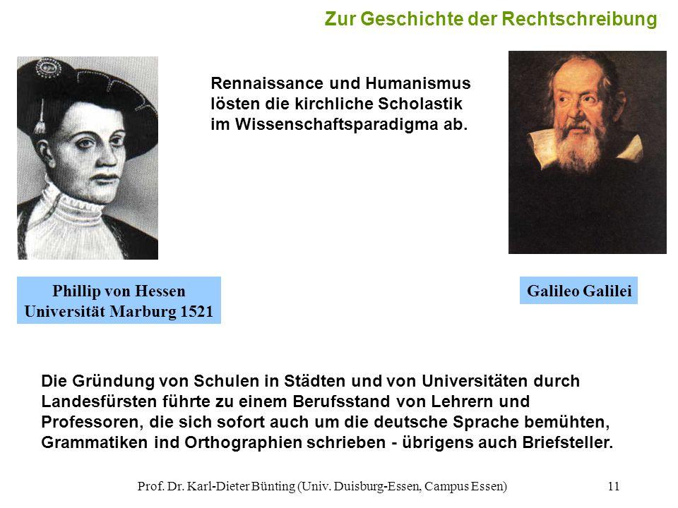 Prof. Dr. Karl-Dieter Bünting (Univ. Duisburg-Essen, Campus Essen)11 Die Gründung von Schulen in Städten und von Universitäten durch Landesfürsten füh