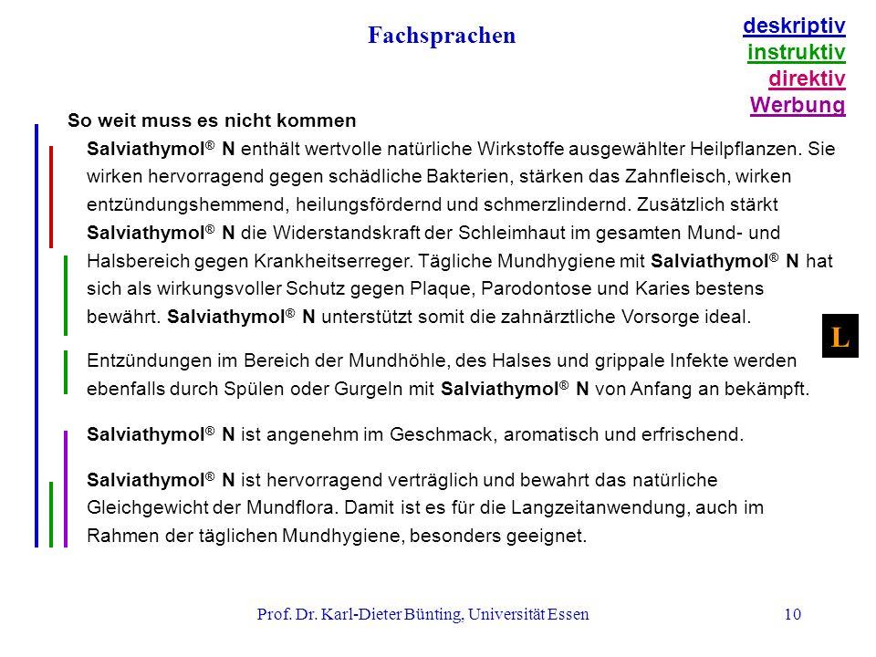 Prof. Dr. Karl-Dieter Bünting, Universität Essen10 So weit muss es nicht kommen Salviathymol ® N enthält wertvolle natürliche Wirkstoffe ausgewählter