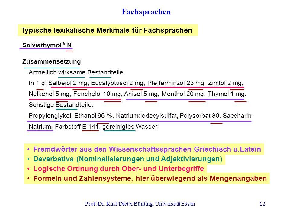 Prof. Dr. Karl-Dieter Bünting, Universität Essen12 Fachsprachen Salviathymol ® N Zusammensetzung Arzneilich wirksame Bestandteile: In 1 g: Salbeiöl 2
