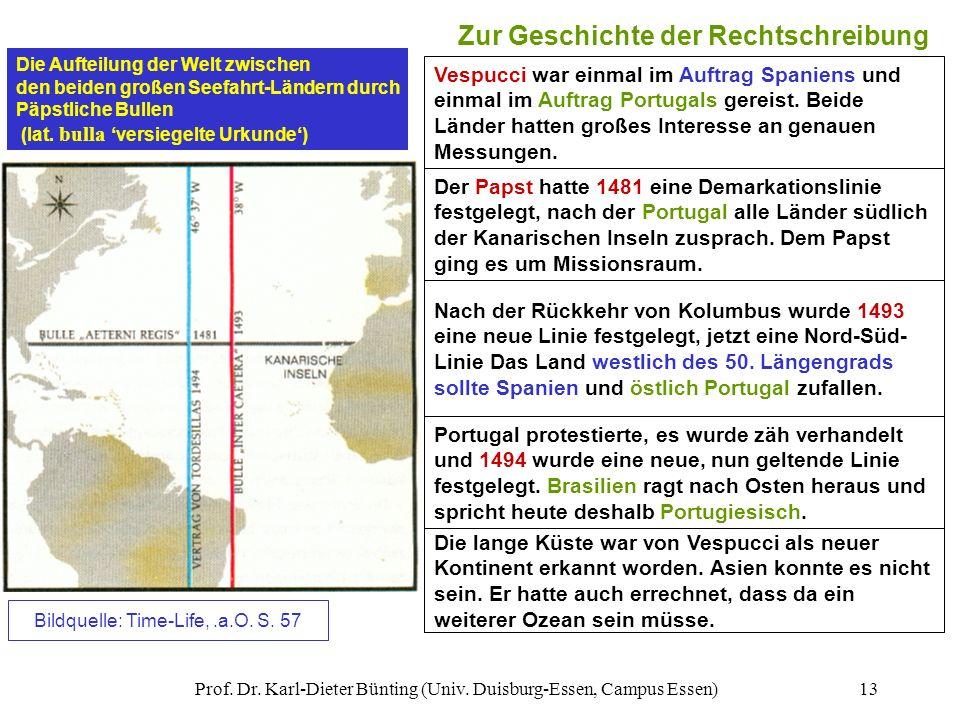 Prof. Dr. Karl-Dieter Bünting (Univ. Duisburg-Essen, Campus Essen)13 Zur Geschichte der Rechtschreibung Die lange Küste war von Vespucci als neuer Kon