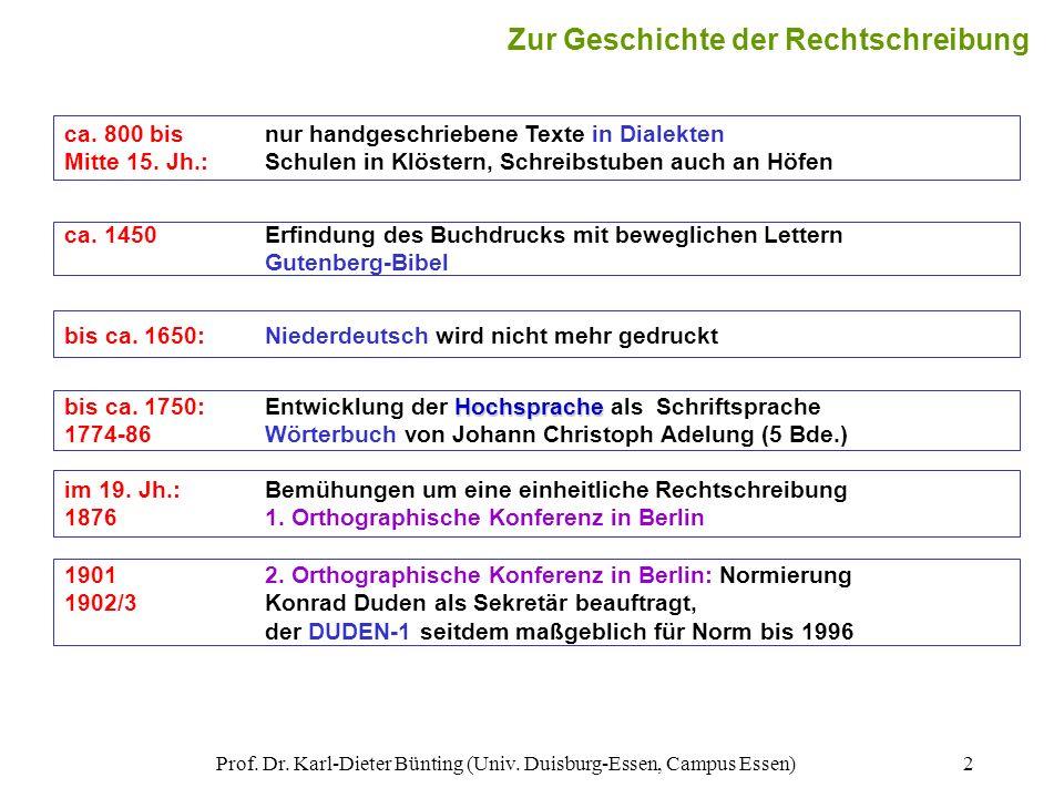 Prof. Dr. Karl-Dieter Bünting (Univ. Duisburg-Essen, Campus Essen)2 Zur Geschichte der Rechtschreibung ca. 800 bisnur handgeschriebene Texte in Dialek