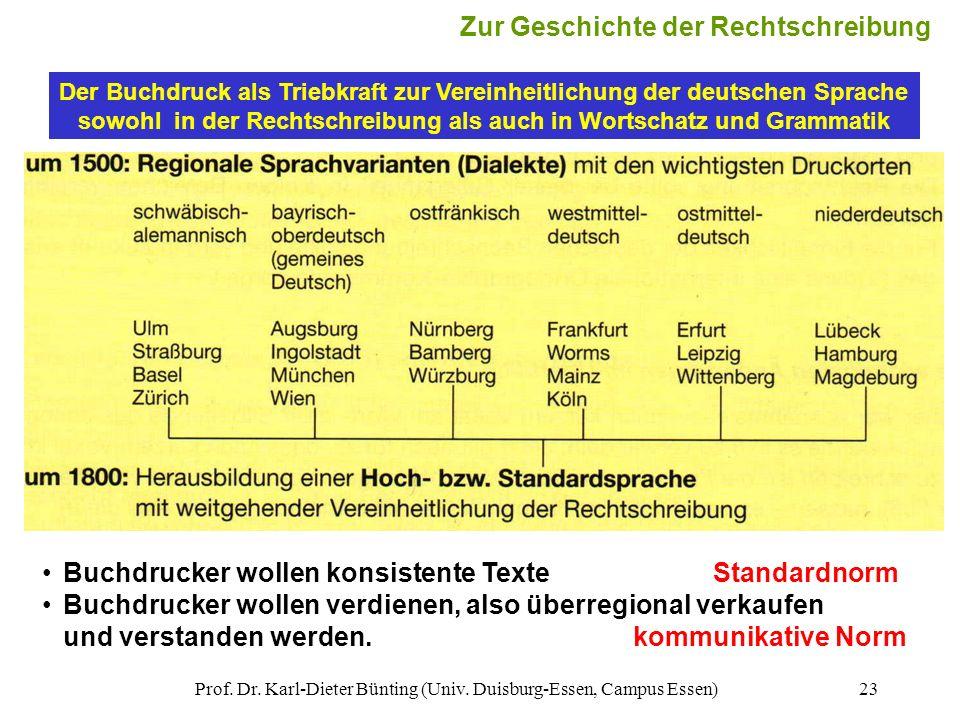 Prof. Dr. Karl-Dieter Bünting (Univ. Duisburg-Essen, Campus Essen)23 Der Buchdruck als Triebkraft zur Vereinheitlichung der deutschen Sprache sowohl i