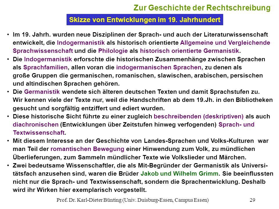 Prof. Dr. Karl-Dieter Bünting (Univ. Duisburg-Essen, Campus Essen)29 Im 19. Jahrh. wurden neue Disziplinen der Sprach- und auch der Literaturwissensch
