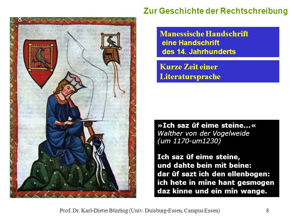 Prof. Dr. Karl-Dieter Bünting (Univ. Duisburg-Essen, Campus Essen)8 »Ich saz ûf eime steine...« Walther von der Vogelweide (um 1170-um1230) Ich saz ûf