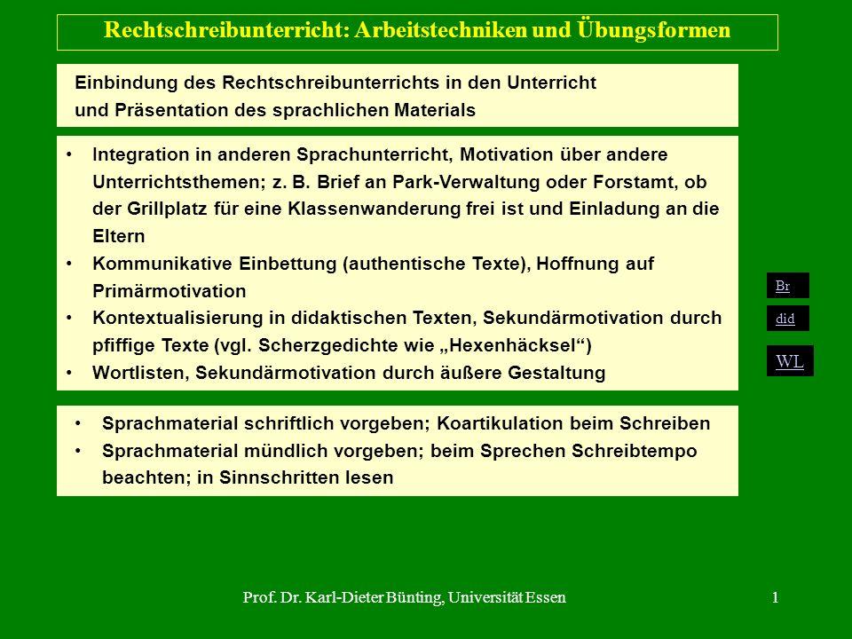 Prof. Dr. Karl-Dieter Bünting, Universität Essen1 Rechtschreibunterricht: Arbeitstechniken und Übungsformen Einbindung des Rechtschreibunterrichts in