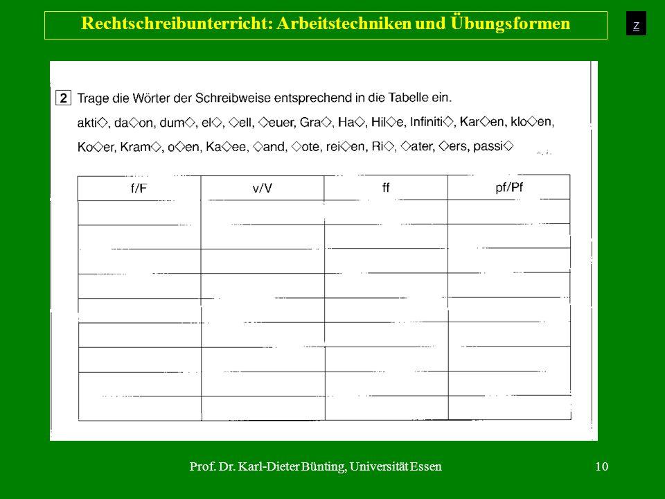 Prof. Dr. Karl-Dieter Bünting, Universität Essen10 Rechtschreibunterricht: Arbeitstechniken und Übungsformen z
