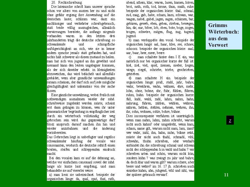 Prof. Dr. Karl-Dieter Bünting, Universität Essen11 z Grimms Wörterbuch: aus dem Vorwort