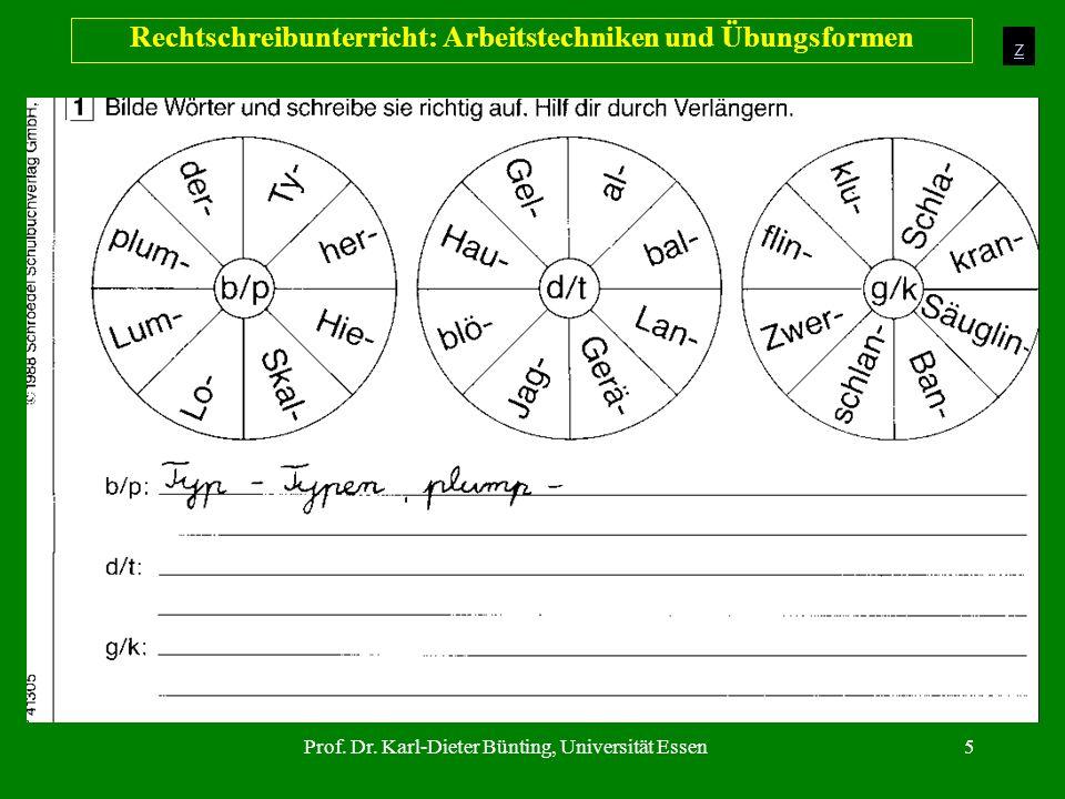 Prof. Dr. Karl-Dieter Bünting, Universität Essen5 Rechtschreibunterricht: Arbeitstechniken und Übungsformen z