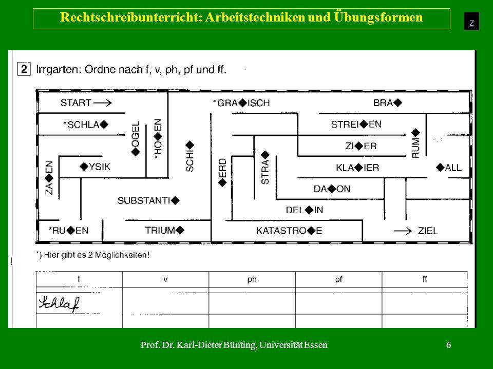 Prof. Dr. Karl-Dieter Bünting, Universität Essen6 Rechtschreibunterricht: Arbeitstechniken und Übungsformen z