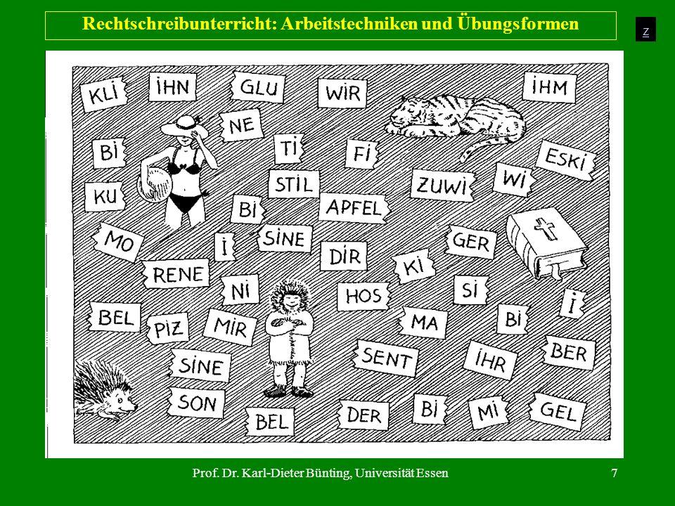 Prof. Dr. Karl-Dieter Bünting, Universität Essen7 Rechtschreibunterricht: Arbeitstechniken und Übungsformen z