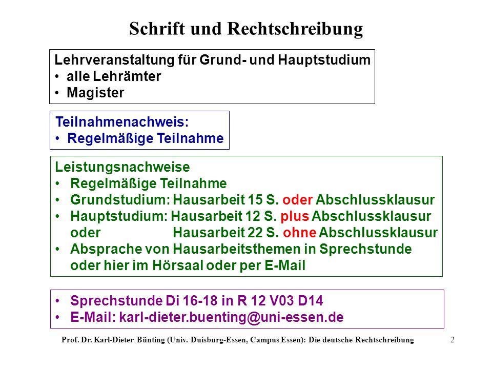 Prof. Dr. Karl-Dieter Bünting (Univ. Duisburg-Essen, Campus Essen): Die deutsche Rechtschreibung2 Lehrveranstaltung für Grund- und Hauptstudium alle L