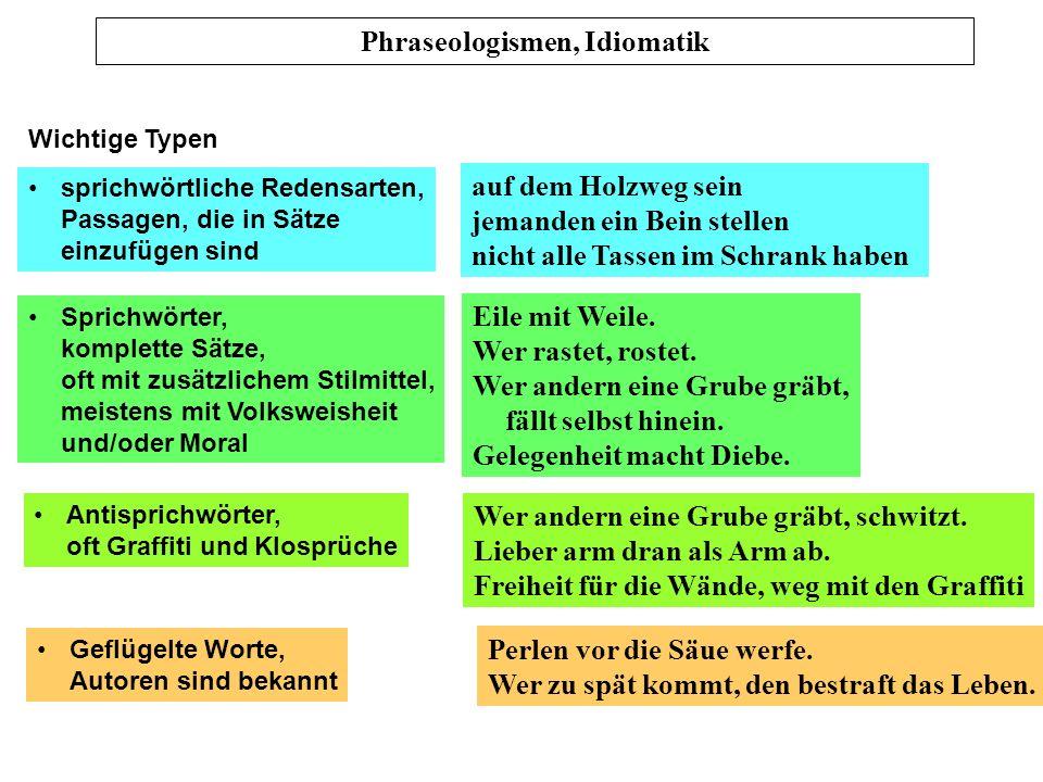Prof. Dr. Karl-Dieter Bünting (Univerität Essen): Praktische Stilistik 5 Phraseologismen und Idiomatik (Skript S. 7 – 8) Phraseologismus: feste Verbin