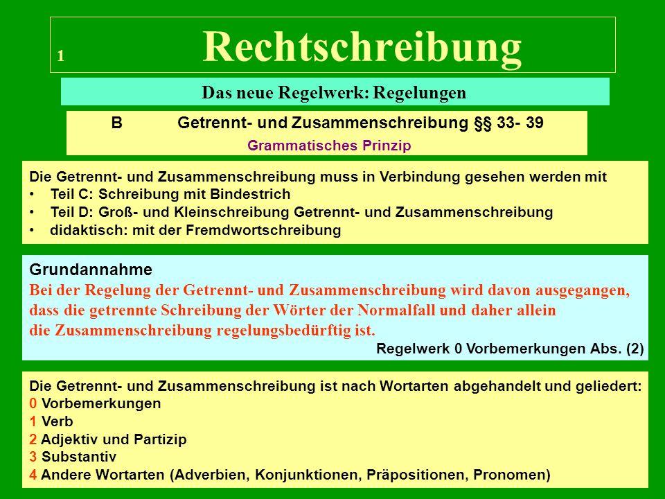 12 Rechtschreibung Das neue Regelwerk: Regelungen Für die übrigen Bereiche wurde in der Vorlesung nach dem amtlichen Regelwerk vorgegangen.