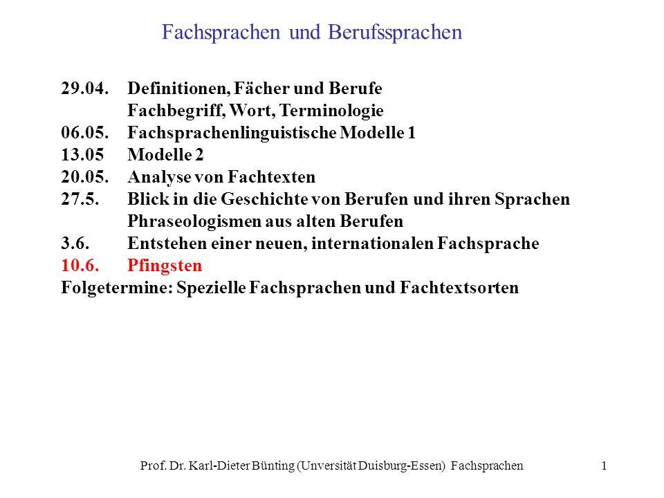 Prof. Dr. Karl-Dieter Bünting (Unversität Duisburg-Essen) Fachsprachen1 Fachsprachen und Berufssprachen 29.04.Definitionen, Fächer und Berufe Fachbegr