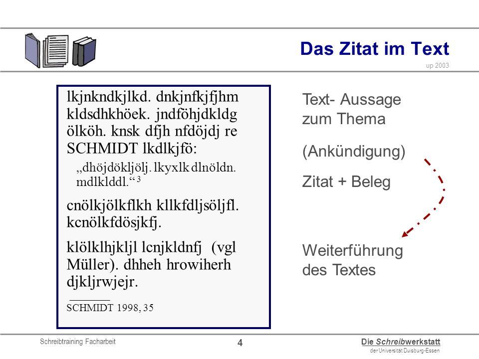 Schreibtraining Facharbeit Die Schreibwerkstatt der Universität Duisburg-Essen up 2003 4 Das Zitat im Text lkjnkndkjlkd. dnkjnfkjfjhm kldsdhkhöek. jnd