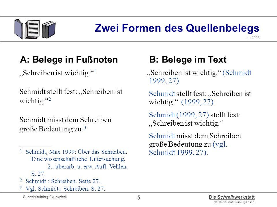 Schreibtraining Facharbeit Die Schreibwerkstatt der Universität Duisburg-Essen up 2003 5 Zwei Formen des Quellenbelegs Schreiben ist wichtig. 1 Schmid