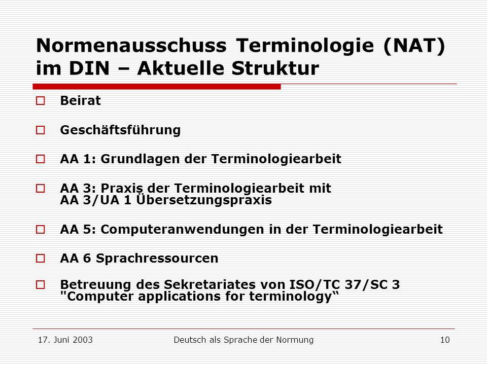 17. Juni 2003Deutsch als Sprache der Normung10 Normenausschuss Terminologie (NAT) im DIN – Aktuelle Struktur Beirat Geschäftsführung AA 1: Grundlagen