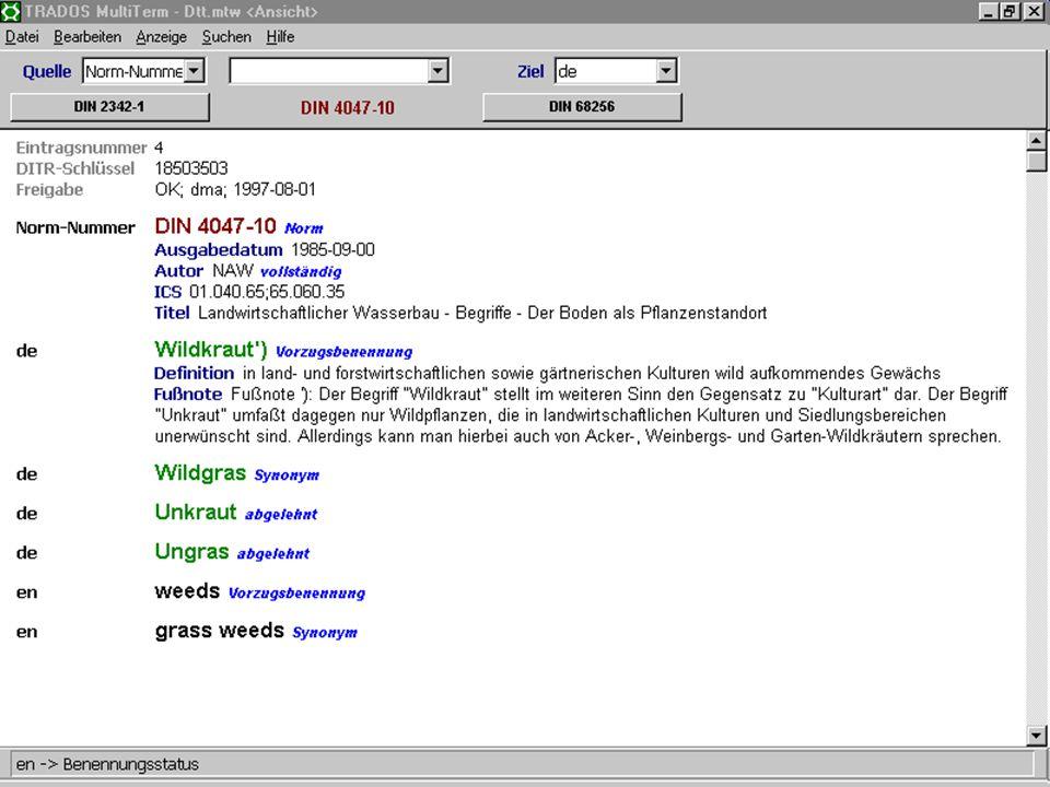 17. Juni 2003Deutsch als Sprache der Normung17 Abgelehnte Benennung